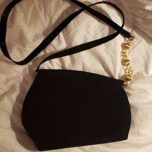 Bally crossbody bag black suede/chevron leather